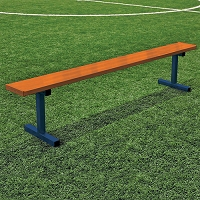 Player Bench (27' w/ Seat Back - In-Ground Installation - Powder Coated)