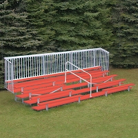 Enclosed Bleacher (5 Row - 21' - w/ Guard Rail & Aisle - Powder Coated)