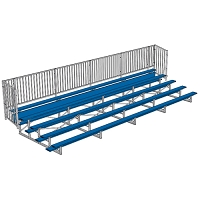 Enclosed Bleacher (5 Row - 27' w/ Guard Rail - Powder Coated)