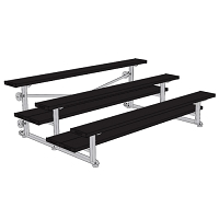 Tip & Roll Bleachers (7-1/2' Double Foot Plank - 3 Row - Powder Coated)