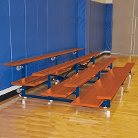 Tip & Roll Bleachers (7-1/2' Double Foot Plank - 4 Row - Powder Coated)