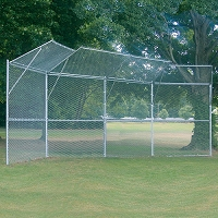 Permanent Baseball/Softball Backstop (4 Panel, 2 Center Overhangs, 2 Wing Overhangs)