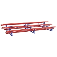 Back-to-Back Bleachers (7-1/2' Single Foot Plank - 3 Row - Powder Coated)