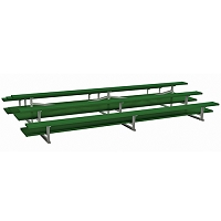 Back-to-Back Bleachers (15' Double Foot Plank - 3 Row - Powder Coated)