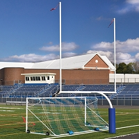 "Steel Football Goal Post (Leveling Plate - 6'Ox20'U - High School 23' 4"" wide- White)"