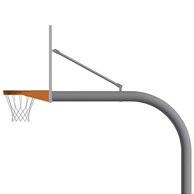 "Basketball System - Gooseneck (4-1/2"" Pole with 4' Offset) - 72"" Perforated Steel Board - Double Rim Goal"
