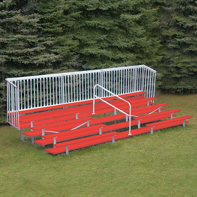 Enclosed Bleacher (5 Row - 15' w/ Guard Rail - Powder Coated)