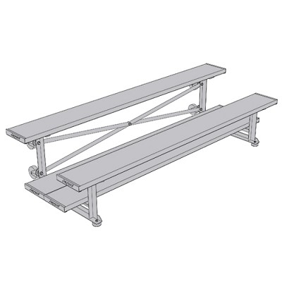 Tip & Roll Bleachers (7-1/2' Double Foot Plank - 2 Row)