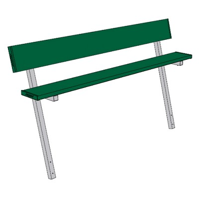Player Bench (7-1/2' w/Seat Back - In-Ground Installation - Powder Coated)
